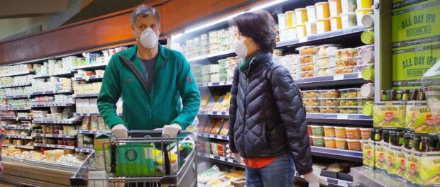 Masked shoppers in the store